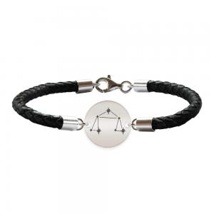 Destiny - Bratara Premium din piele impletita si banut argint 925 personalizat cu constelatii - Balanta