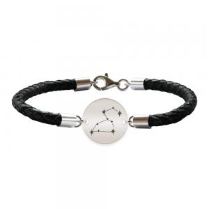 Destiny - Bratara Premium din piele impletita si banut argint 925 personalizat cu constelatii - Leu