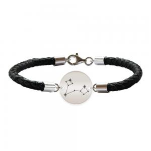 Destiny - Bratara Premium din piele impletita si banut argint 925 personalizat cu constelatii - Pesti