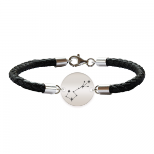 Destiny - Bratara Premium din piele impletita si banut argint 925 personalizat cu constelatii - Scorpion