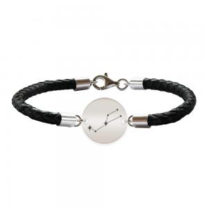 Destiny - Bratara Premium din piele impletita si banut argint 925 personalizat cu constelatii - Taur
