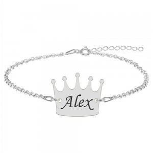 King - Bratara din argint 925 personalizata cu text - coroana