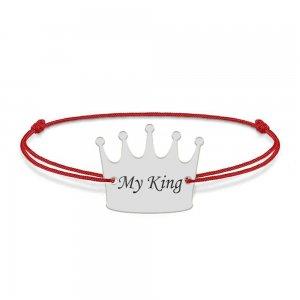 King - Bratara snur cu talisman din argint 925 personalizata cu text - coroana