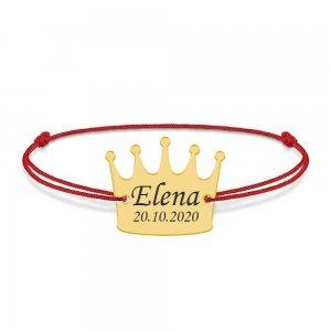 King - Bratara snur cu talisman din argint personalizata cu text - coroana