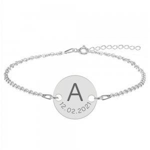 Lia - Bratara din argint 925 personalizata cu initiala si data - banut