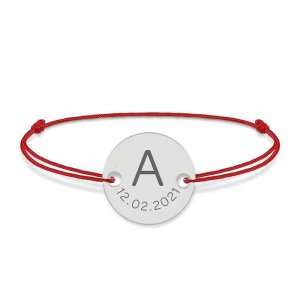 Lia - Bratara snur personalizata cu banut argint 925 cu initiala si data