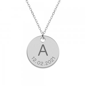 Lia - Colier din argint 925 personalizat cu initiala si data - banut