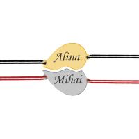 You and Me - Set bratari personalizate din argint inimioara pentru cuplu cu nume
