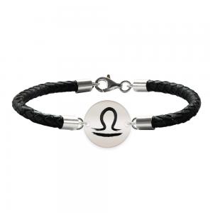 Bratara Premium din piele impletita si banut argint 925 personalizat cu zodiac - Balanta