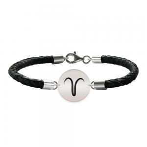 Bratara Premium din piele impletita si banut argint 925 personalizat cu zodiac Berbec