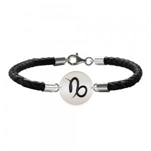 Bratara Premium din piele impletita si banut argint 925 personalizat cu zodiac - Capricorn