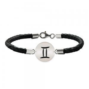 Bratara Premium din piele impletita si banut argint 925 personalizat cu zodiac - Gemeni