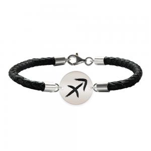 Bratara Premium din piele impletita si banut argint 925 personalizat cu zodiac - Sagetator