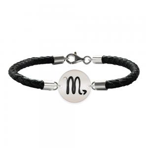 Bratara Premium din piele impletita si banut argint 925 personalizat cu zodiac - Scorpion