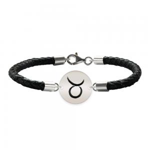 Bratara Premium din piele impletita si banut argint 925 personalizat cu zodiac Taur