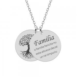 Copacul vietii - Colier din argint personalizat cu doi banuti