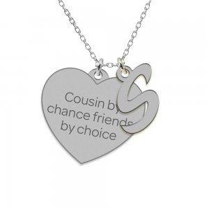Cousin - Colier din argint 925 personalizat inimioara