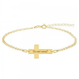Crux - Bratara personalizata argint cruce cu text