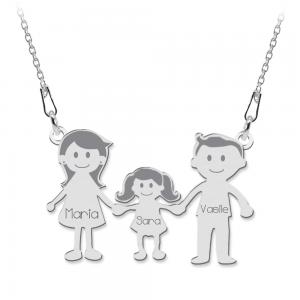 Family - Colier personalizat din argint membrii familiei