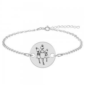 Felicia - Bratara personalizata din argint 925 mama cu doua fetite