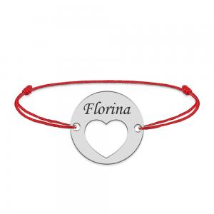 Heart - Bratara snur personalizata banut argint 925 cu nume si inimioara