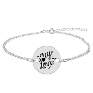 Lover - Bratara personalizata argint 925 banut My Love