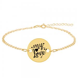 Lover - Bratara personalizata argint banut My Love