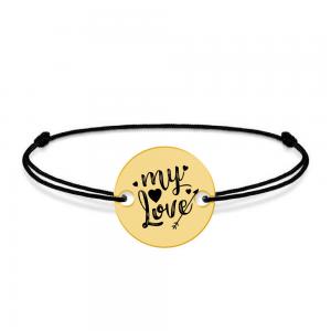 Lover - Bratara snur personalizata banut cu textul My Love