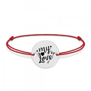 Lover - Bratara snur personalizata banut argint 925 cu textul My Love