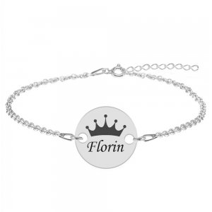 Regali - Bratara personalizata argint 925 banut cu nume si coroana