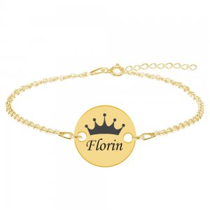 Regali - Bratara personalizata argint banut cu nume si coroana