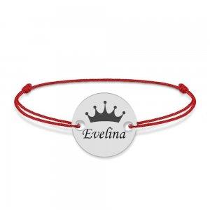 Regali - Bratara personalizata banut argint 925 cu nume si coroana