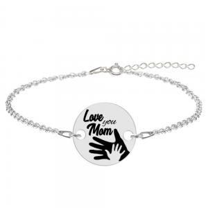 """Sole - Bratara personalizata din argint """"Love you Mom"""""""