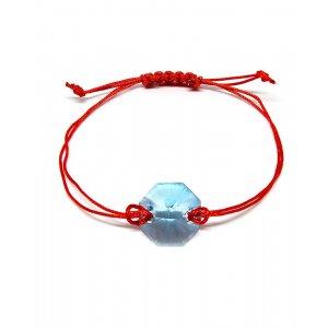 Lili - Bratara Snur si Cristale Swarovski Reglabila - Aquamarine