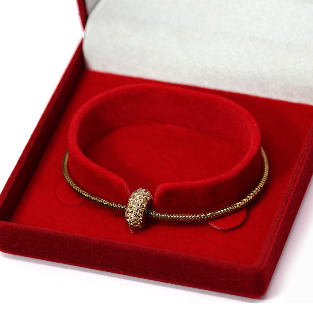 Bratara Tip Pandora din Argint Placat cu Aur cu Talisman Swarovski