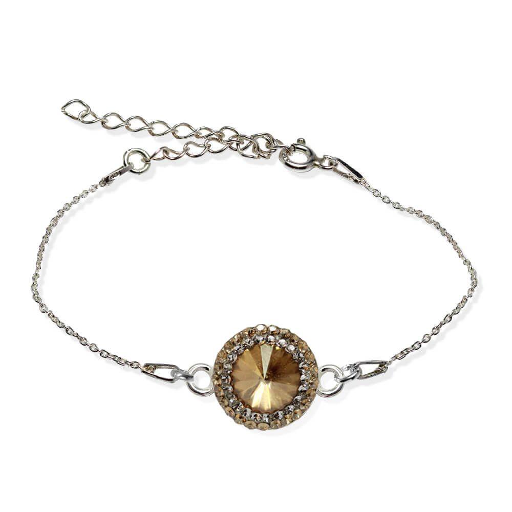 Aldora - Bratara Argint si Cristale Swarovski - Golden Shadow