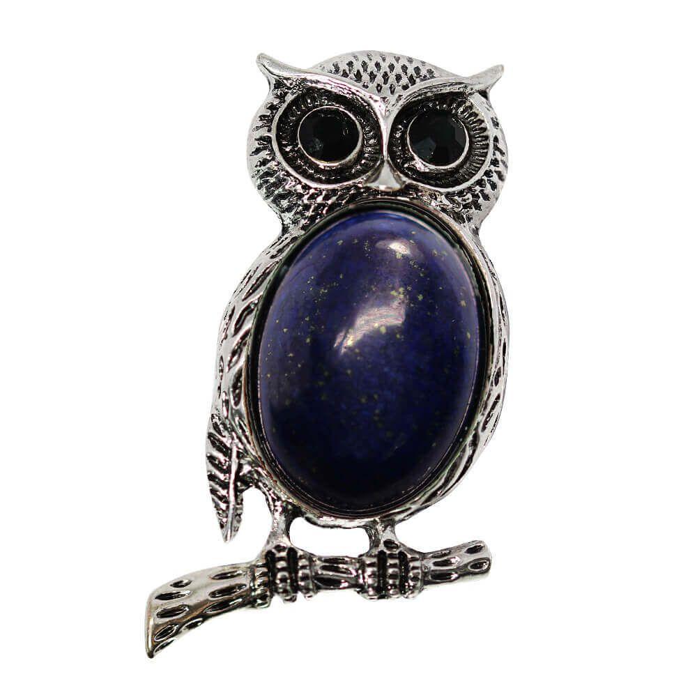 Didi - Brosa Bufnita Argintie si Lapis Lazuli
