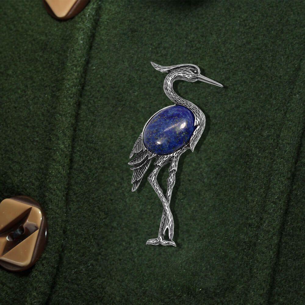 Cocor - Brosa Argintie si Lapis Lazuli
