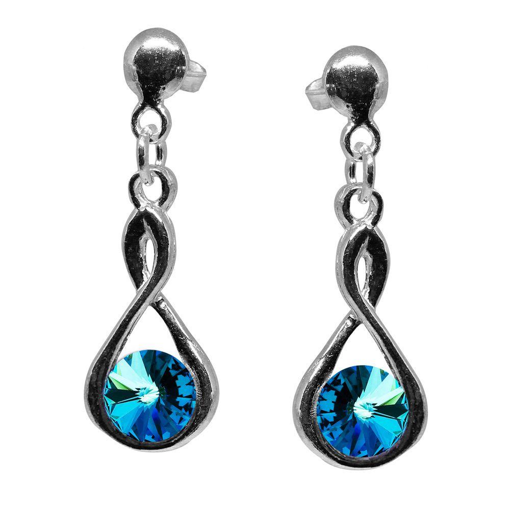 Ronia - Cercei Argint si Cristale Swarovski - Bermuda Blue