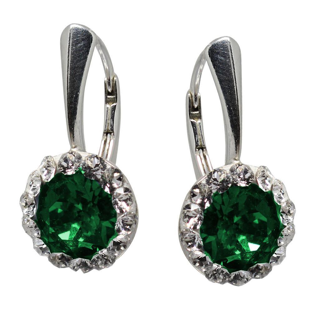 Ariana - Cercei Ceralun, Argint si Cristale Swarovski - Emerald