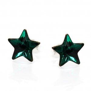 Lily - Cercei Steluta Argint si Cristale Swarovski - Emerald