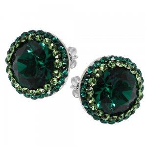 Luxe - Cercei Argint, Ceralun si Cristale Swarovski - Emerald