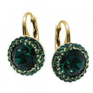 Luxe - Cercei Argint Placat cu Aur si Cristale Swarovski - Emerald