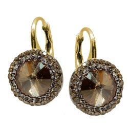 Aldora - Cercei Argint Placat cu Aur si Cristale Swarovski - Golden Shadow