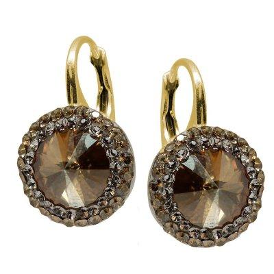 Cercei  Argint Placat cu Aur si Cristale Swarovski - Aldora