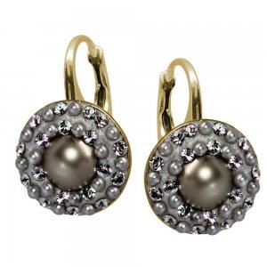 Lucrezia - Cercei Argint Placat cu Aur, Perle si Cristale Swarovski