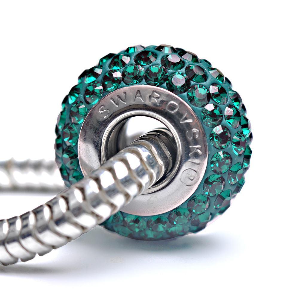 Fiona -Talisman Compatibil cu Bratarile Tip Pandora din Cristale Swarovski - Emerald