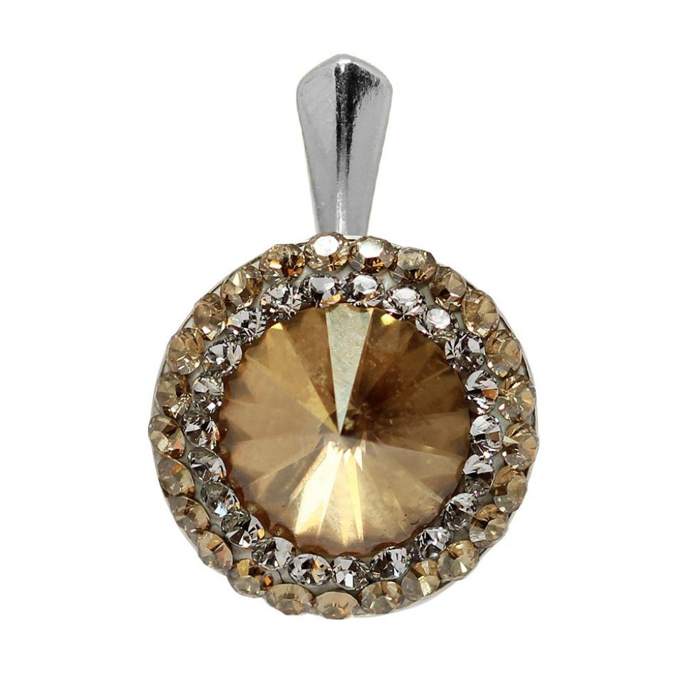 Pandantiv Argint Placat cu Aur si Cristale Swarovski - Aldora