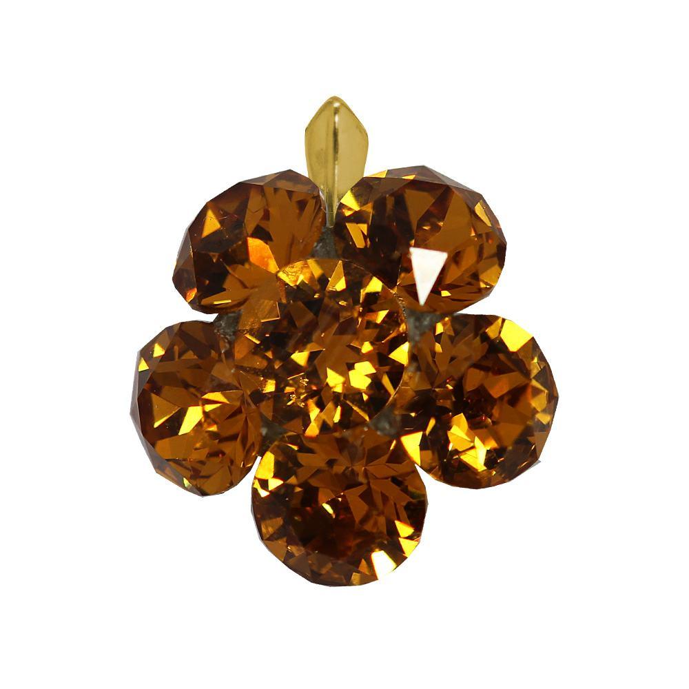 Clare - Pandantiv Argint Placat cu Aur si Cristale Swarovski - Light Topaz