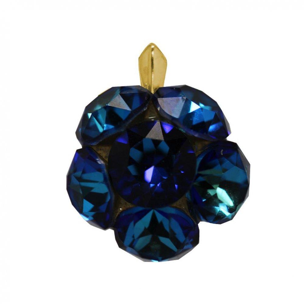 Dorca - Pandantiv  Argint Placat cu Aur si Cristale Swarovski - Bermuda Blue